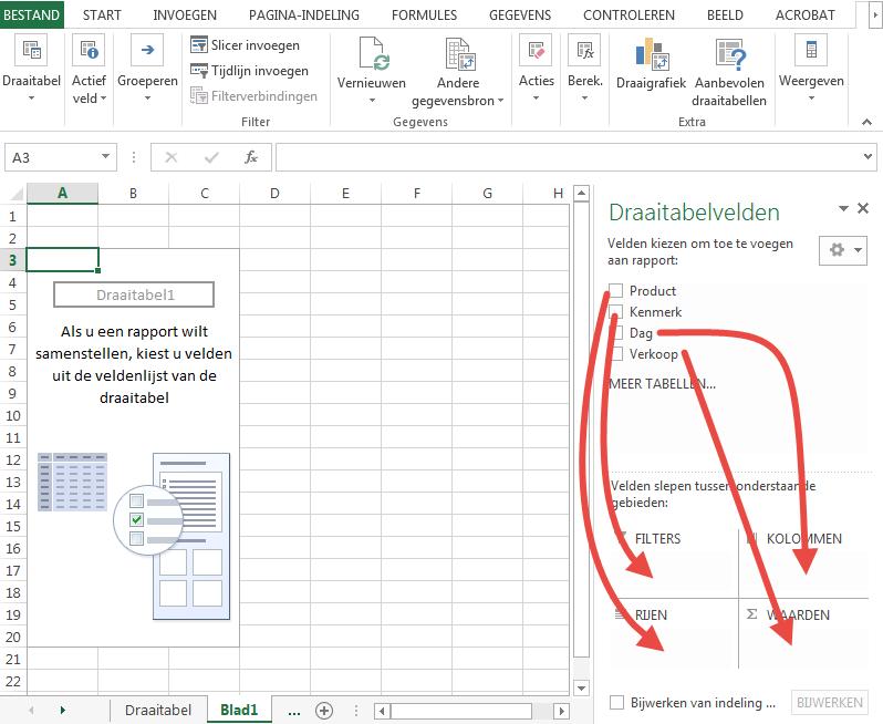 draaitabelvelden in Excel