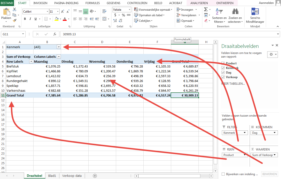 Excel draaitabel